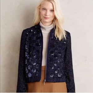 Anthro x Elevenses Sequin Sky Bomber Jacket